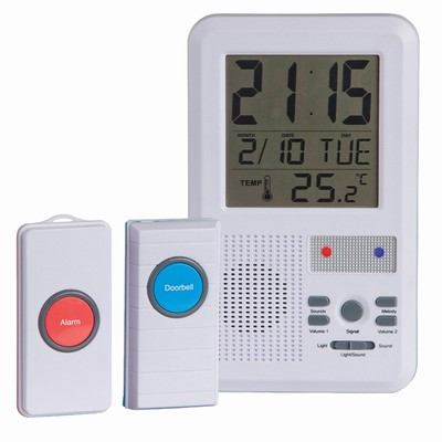 Wireless Doorbell Alarm with Clock & Temperature   LA5022