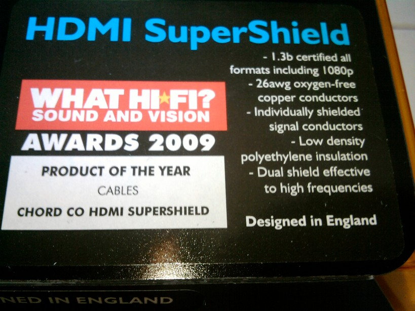 Award winning Chord HDMI 1.3b SuperShield 1m