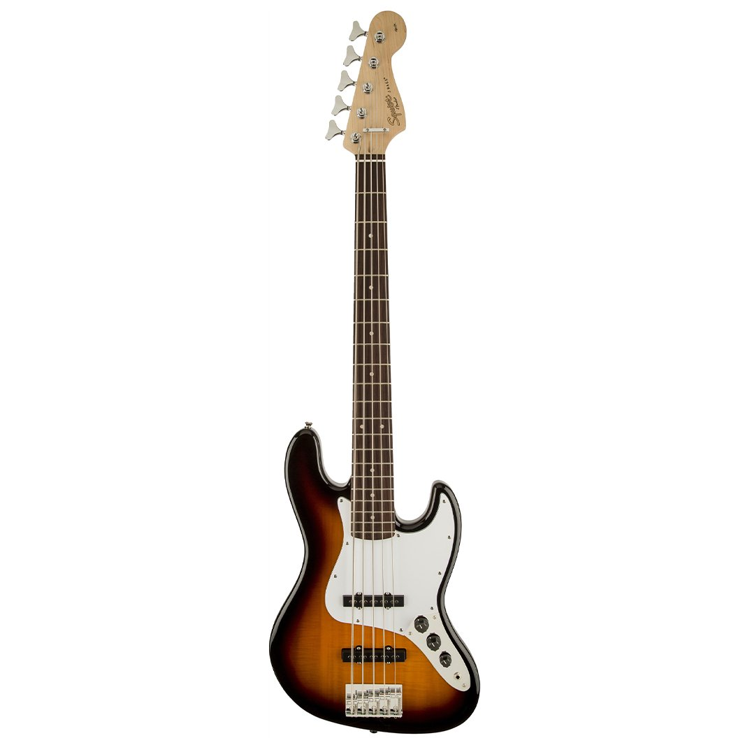Squier Affinity 5-String Jazz Bass Guitar, Maple FB, Brown Sunbu