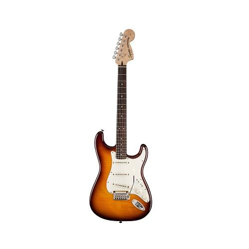 Squier Standard Stratocaster Guitar FMT, Rosewood Neck, Amber Su