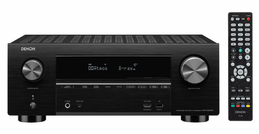 Denon AVR-X3500H 7.2 Ch. 4K AV Receiver with 3D Audio HEOS, and