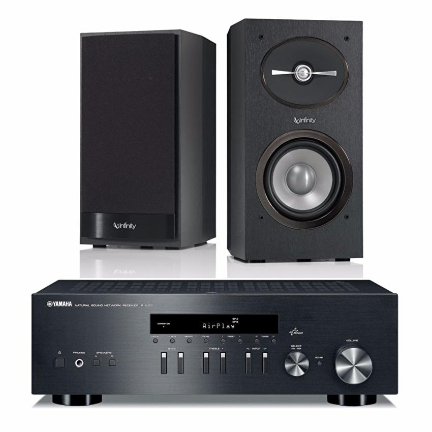 bundle yamaha r n301 network receiver black infinity. Black Bedroom Furniture Sets. Home Design Ideas
