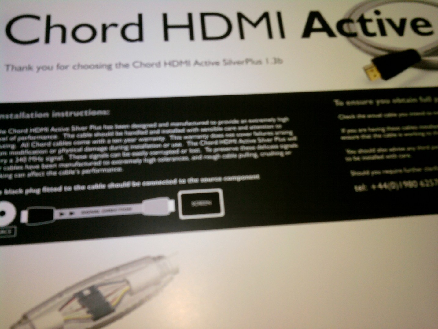 Chord HDMI Active Silver Plus 1.3b 1.5m New