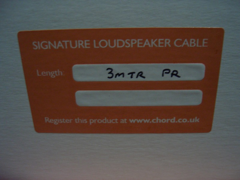 CHORD SIGNATURE SPEAKER CABLE 3metre pair Factory Terminated