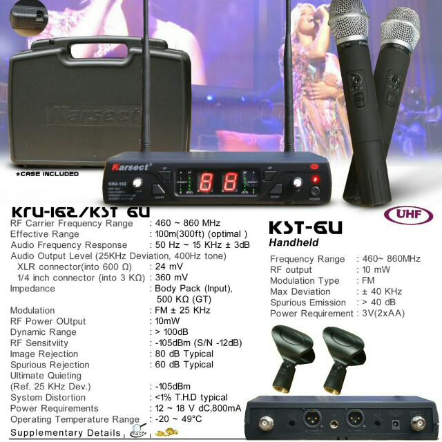 Karsect Wireless UHF Microphone KRU 162/KST 6U