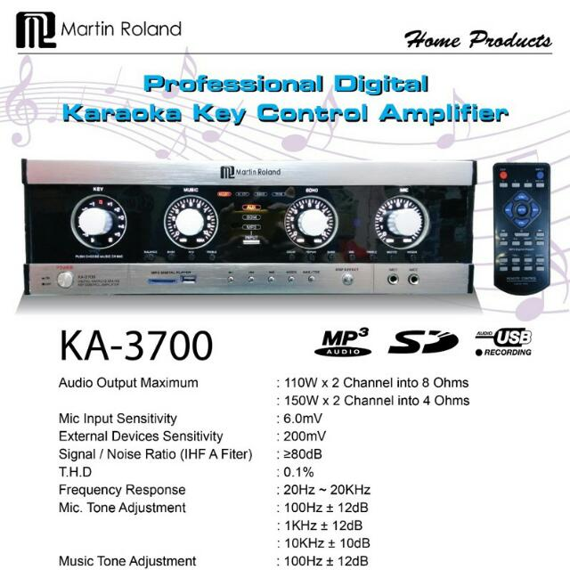 Martin Roland Digital Karaoke Key Control Amplifier KA 3700