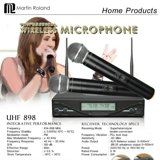 Martin Roland UHF 898 Wireless Microphone