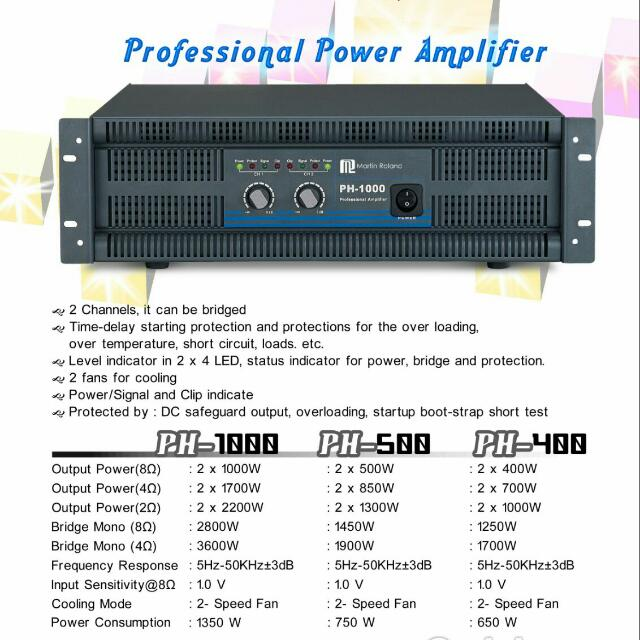 Martin Roland PH 400 Professional Power Amplifier