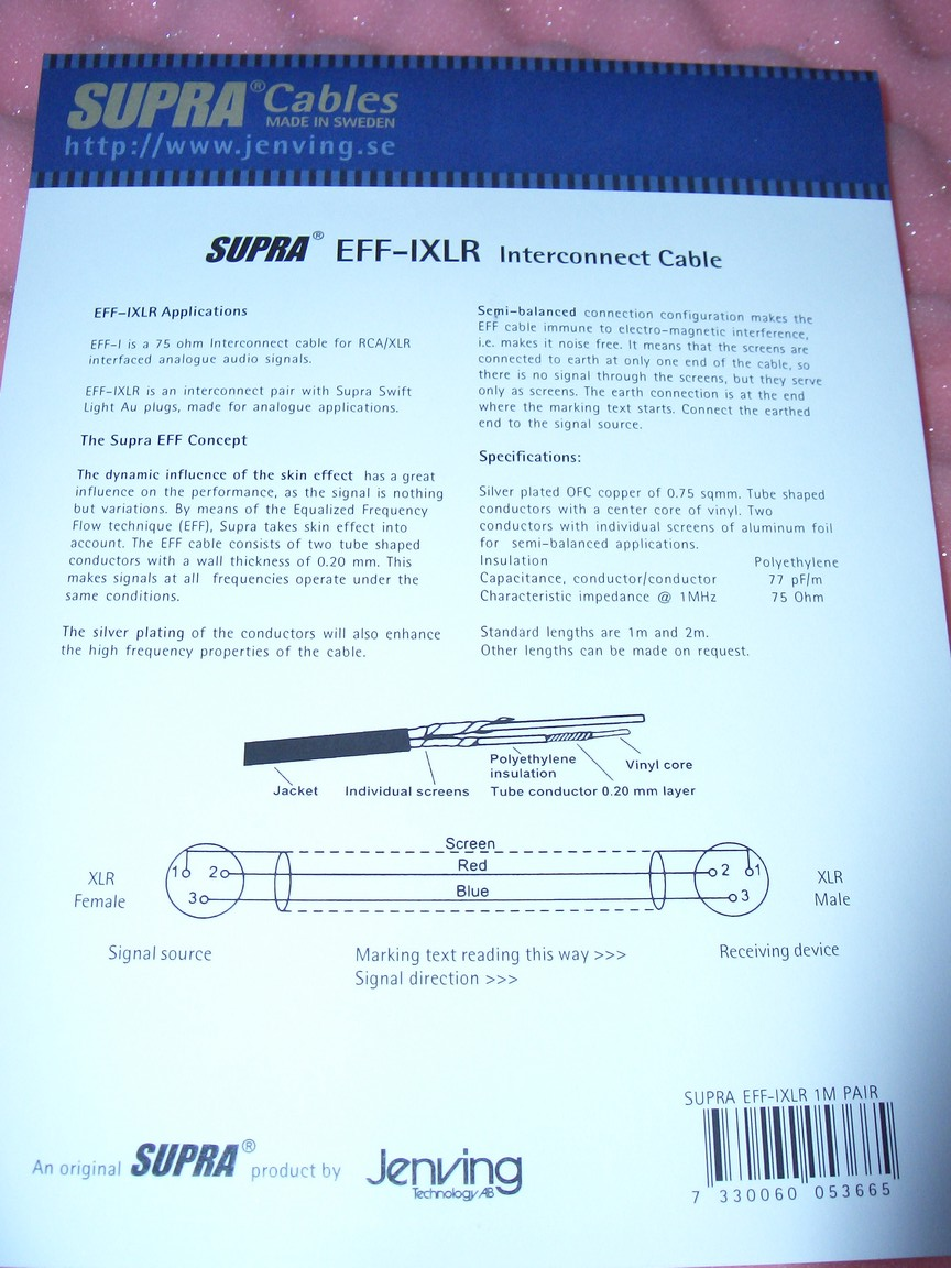 SUPRA EFF-IXLR Interconnect with XLR (Pair)