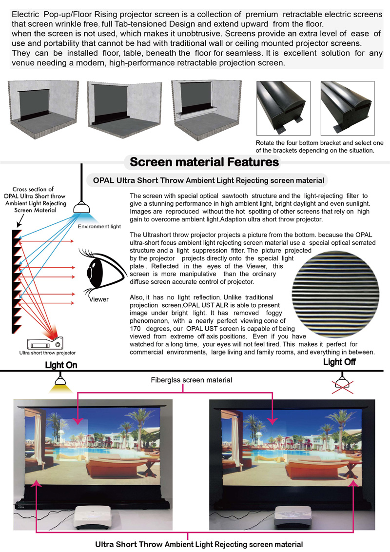 VIVIDSTORM Motorized Floor Rising Projection Screen for 4K 100in