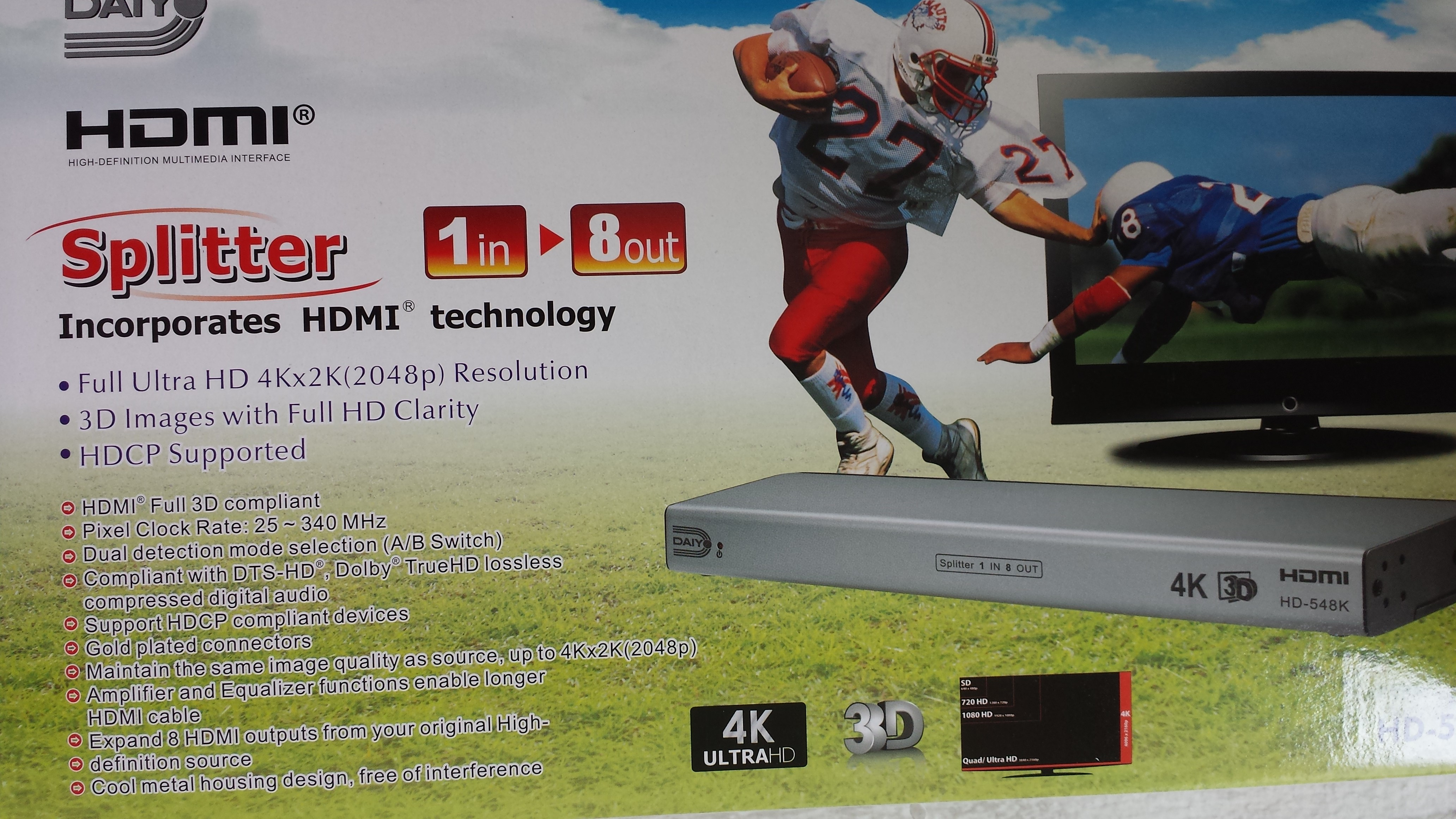 diayo 1 in 8 out hdmi 1.4 ver 4k ready 3d