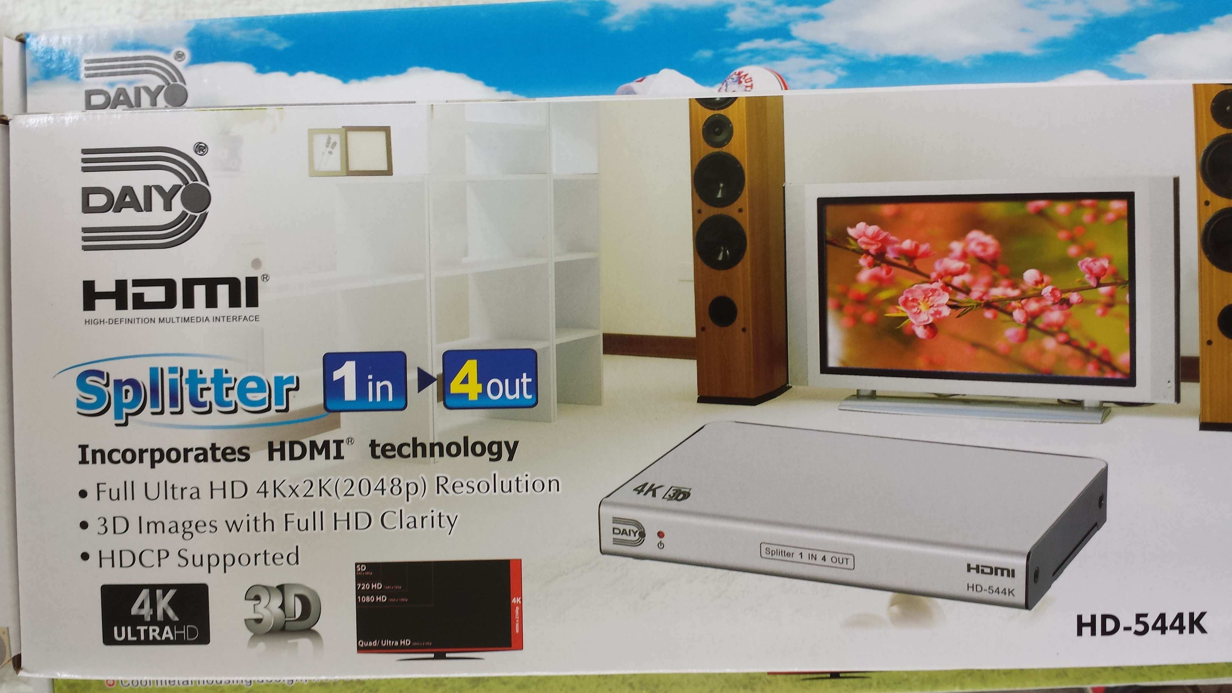 diayo 1 in 4 out hdmi 1.4 ver 4k ready 3d