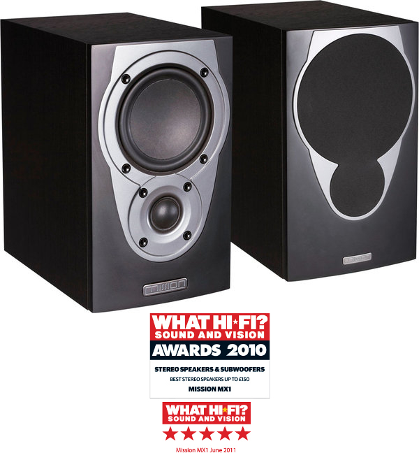 Mission MX1 Bookshelf Speakers in Black